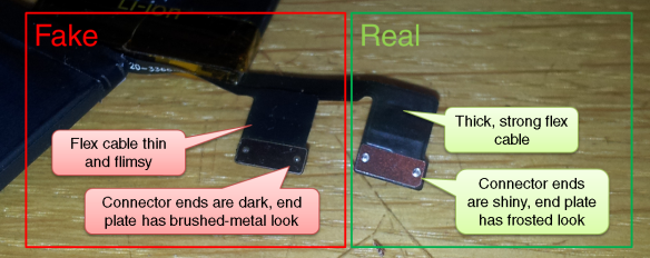 Comparison between real and fake iPhone 5S battery