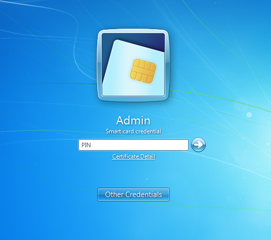 Windows logon screen using a smart card