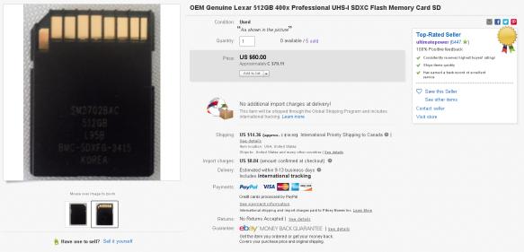 Lexar OEM 512GB Listing