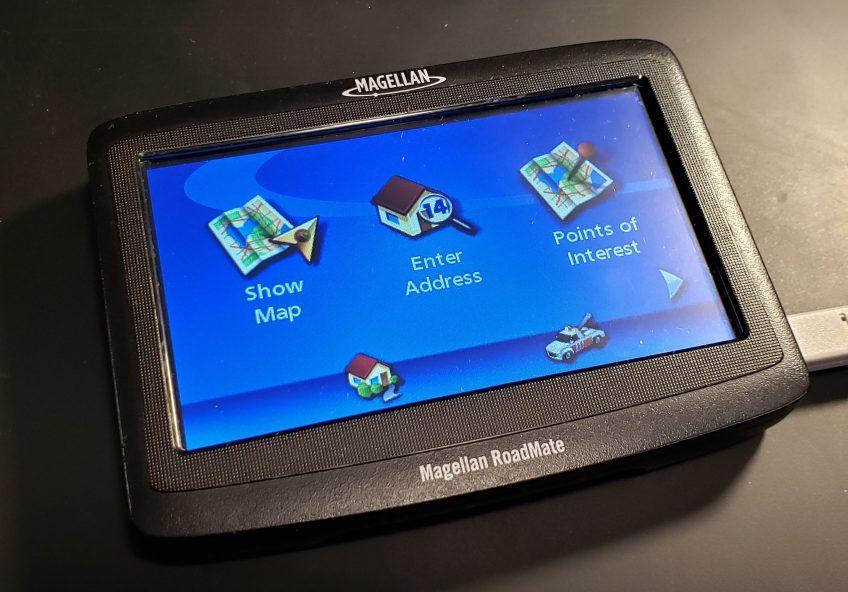 The Magellan RoadMate 1412 GPS unit, pre-Doom.