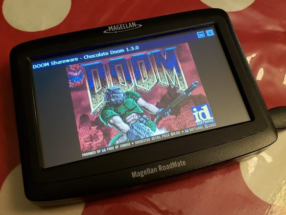 The Magellan RoadMate 1412 running Doom!