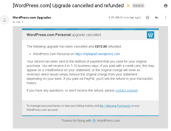 WordPress Personal Plan Cancelled